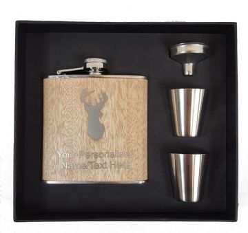 Personalised Engraved Wooden Hip Flask - Stag Image